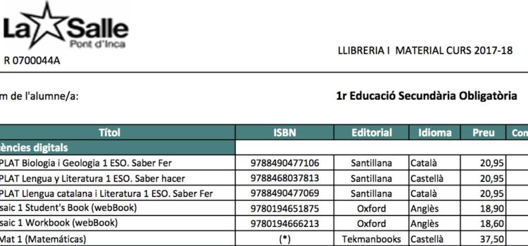 Listado libros ESO 2018-19